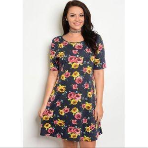 🆕 Plus Size Charcoal Floral Mini Dress